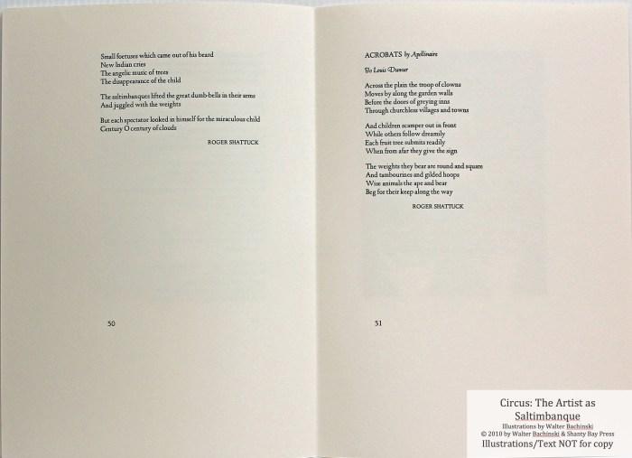 CIRCUS: The Artist as Saltimbanque, Shanty Bay Press, Sample Text #9