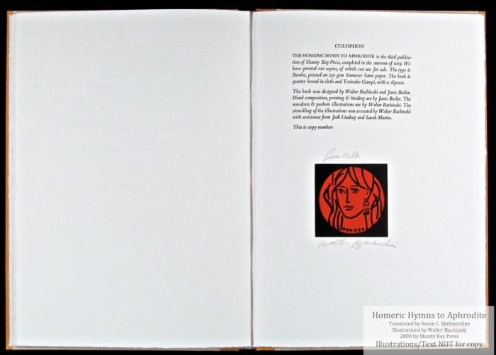Homeric Hymn to Aphrodite, Shanty Bay Press, Colophon