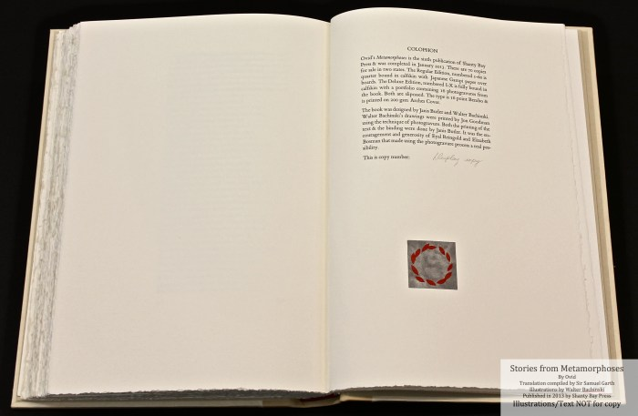 Metamorphoses, Shanty Bay Press,  Colophon with pochoir