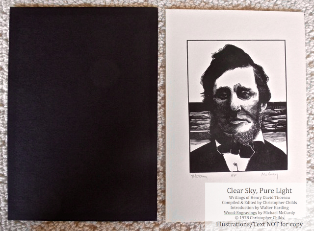 Clear Sky, Pure Light, The Penmaen Press, Separate black and white wood engraving in folder, signed by McCurdy and laid in