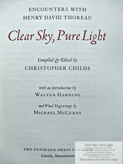 Clear Sky, Pure Light, The Penmaen Press, Title Page