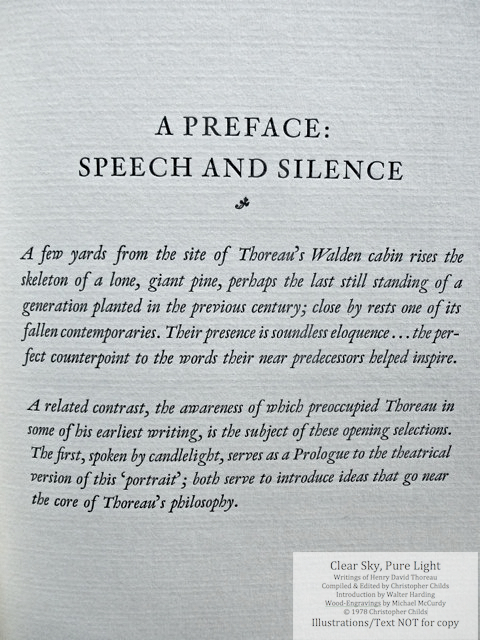 Clear Sky, Pure Light, The Penmaen Press, Introductory page to opening chapter