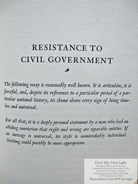 Clear Sky, Pure Light, The Penmaen Press, Introductory page to 'Resistance to Civil Government'