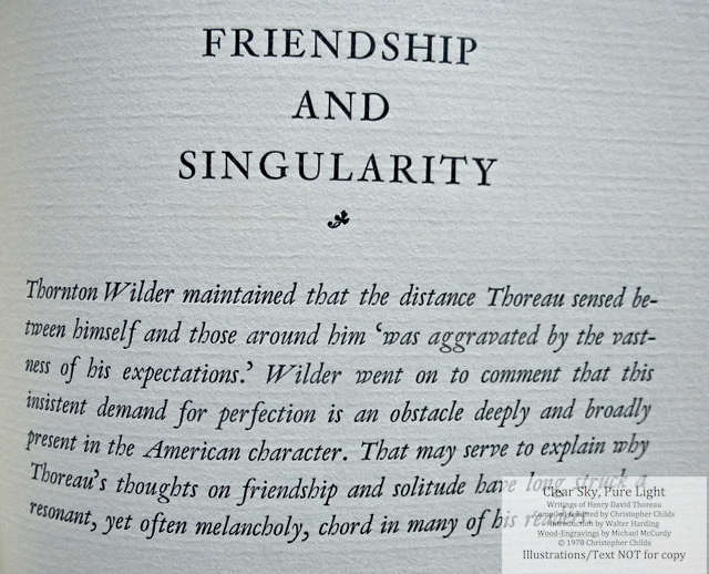 Clear Sky, Pure Light, The Penmaen Press, Introductory page to 'Friendship and Singularity'