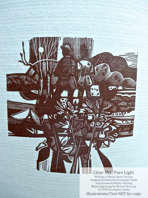 Clear Sky, Pure Light, The Penmaen Press,  Wood engraving for 'Friendship and Singularity'