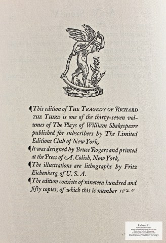 Richard III, Limited Editions Club, Colophon