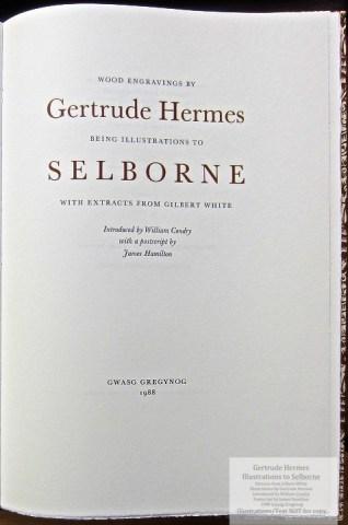 Gertrude Hermes 'Gregynog' Selborne, Gwasg Gregynog, Title Page