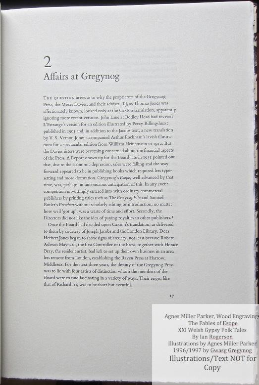 Agnes Miller Parker Wood-Engravings (Esope), Gregynog Press, Sample Text #2