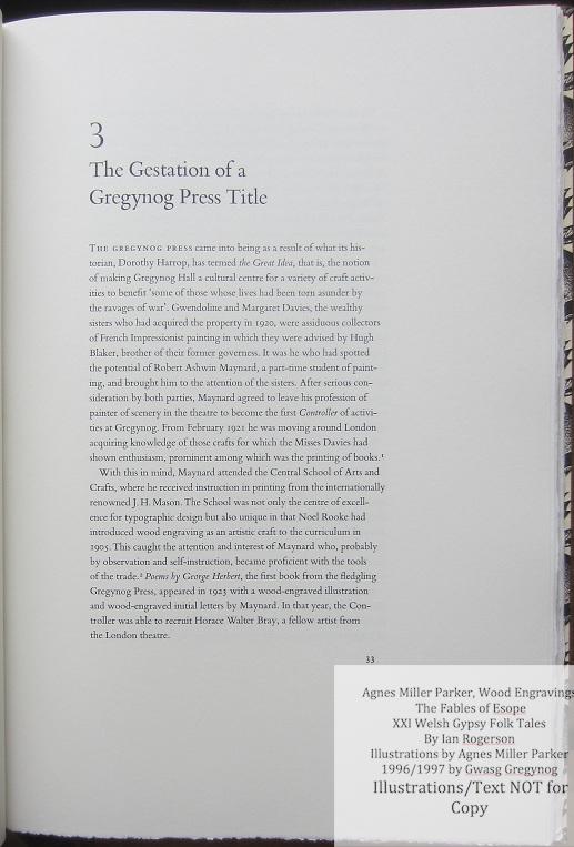 Agnes Miller Parker Wood-Engravings (Welsh Gypsy), Gregynog Press, Sample Text #2