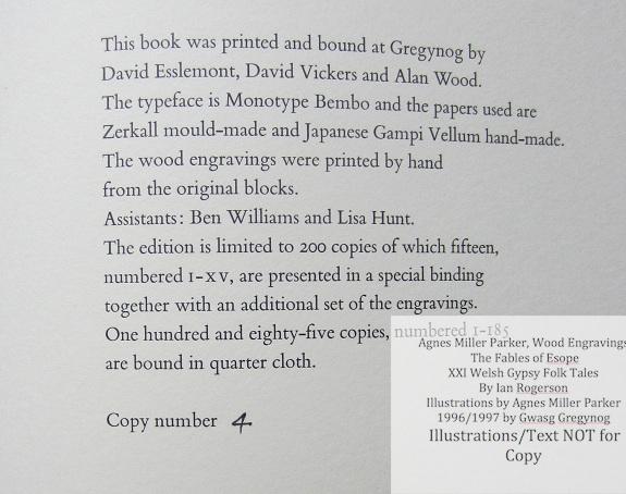 Agnes Miller Parker Wood-Engravings (Welsh Gypsy), Gregynog Press, Colophon