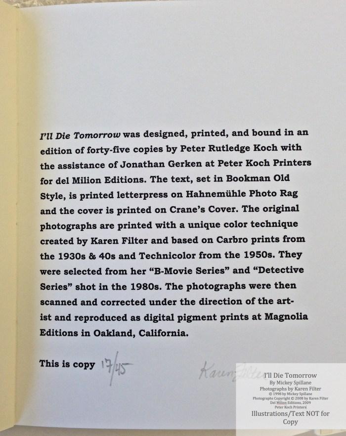 I'll Die Tomorrow, Peter Kock Printers, Colophon