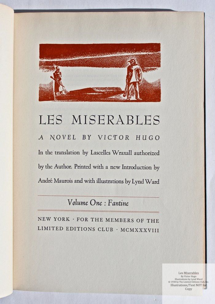 Les Miserables, Limited Editions Club, Title Page of Volume One
