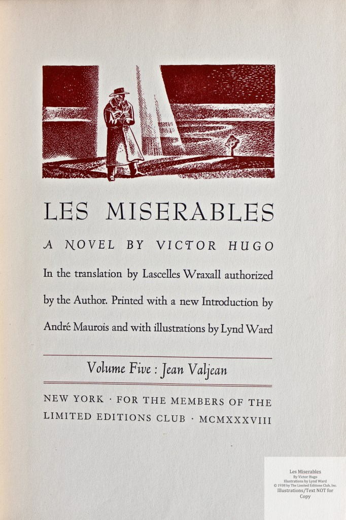 Les Miserables, Limited Editions Club, Title Page Volume 5