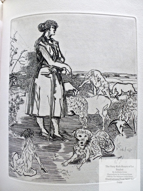 The Very Rich Hours of Le Boulvé, Rampant Lions Press, Sample Illustration #6 (A shepherdess)