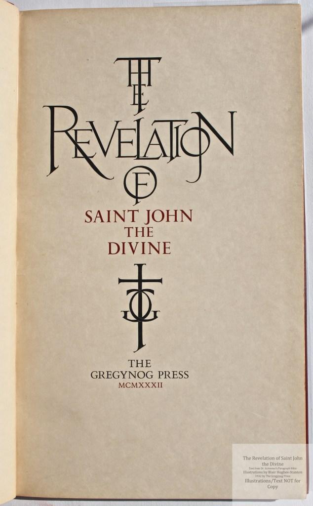 The Revelation of Saint John the Divine, Gregynog Press, Title Page