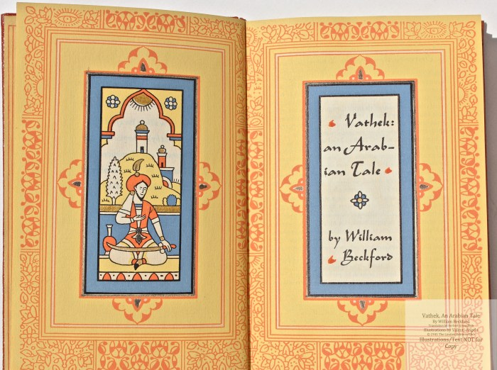 Vathek, An Arabian Tale,  Limited Editions Club, Frontispiece and Title Page