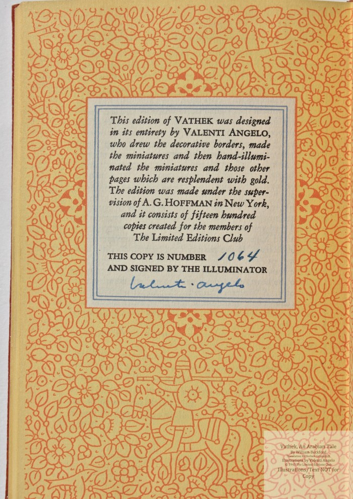 Vathek, An Arabian Tale,  Limited Editions Club, Colophon
