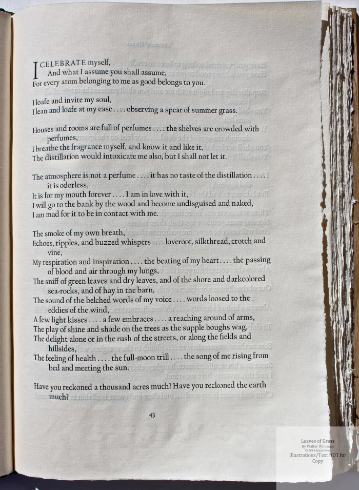 Leaves of Grass, Arion Press, Sample Text #4 (Song of Myself)