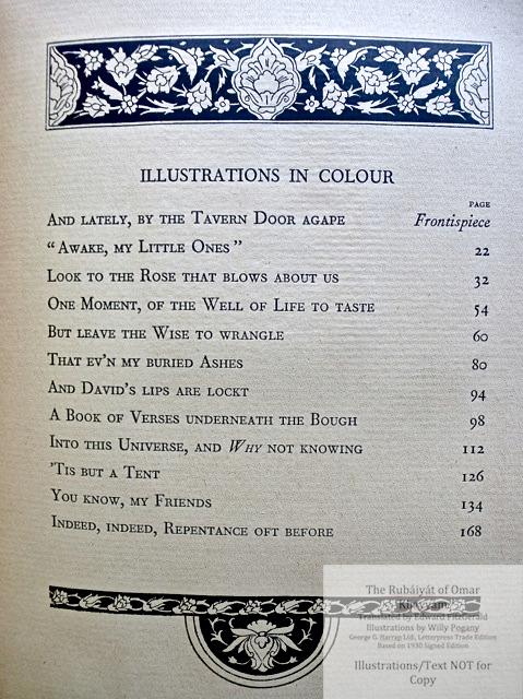 The Rubáiyát of Omar Khayyám, George G. Harrap & Co Ltd., List of Illustrations