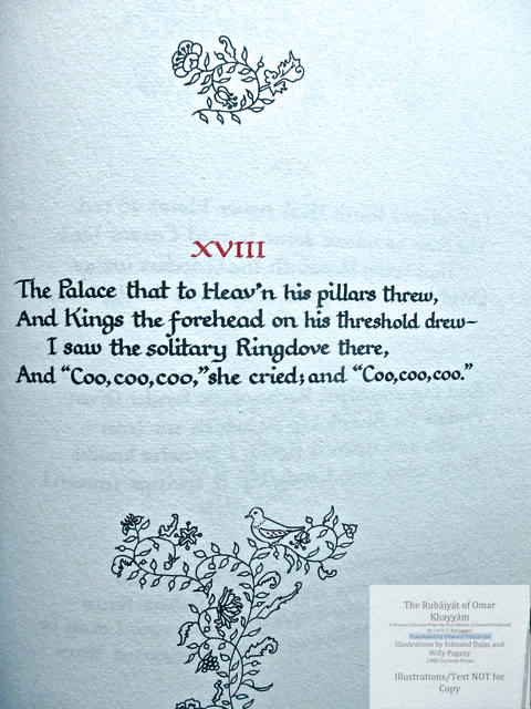 The Rubáiyát of Omar Khayyám. A Personal Selection From the Five Editions of Edward FitzGerald by Cecile E. Mactaggart, Curwen Press,  Sample text page with calligraphy #2