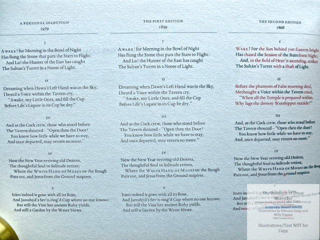 The Rubáiyát of Omar Khayyám. A Personal Selection From the Five Editions of Edward FitzGerald by Cecile E. Mactaggart, Curwen Press, Sample page of comparison between editions.
