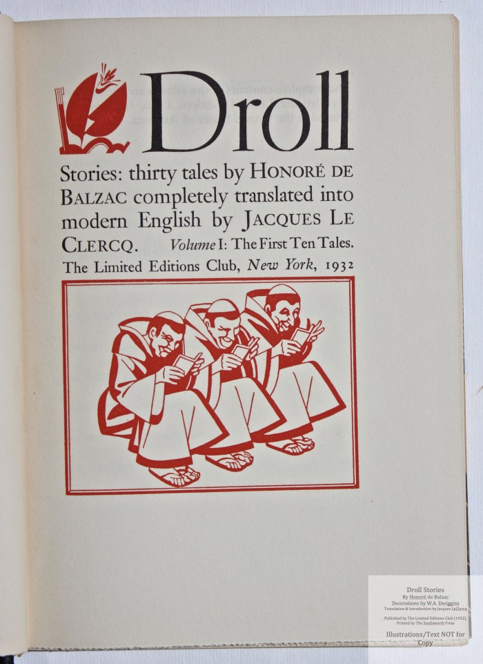 Droll Stories, Limited Editions Club, Title Page (vol 1)