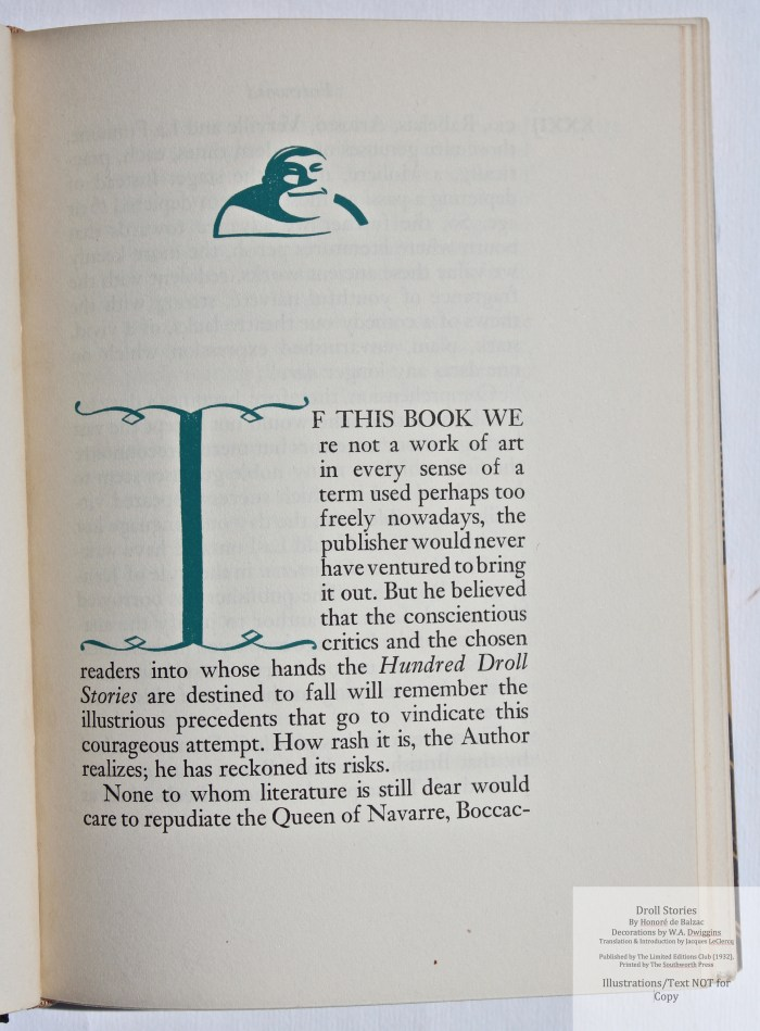 Droll Stories, Limited Editions Club, Sample Decoration with Text #1