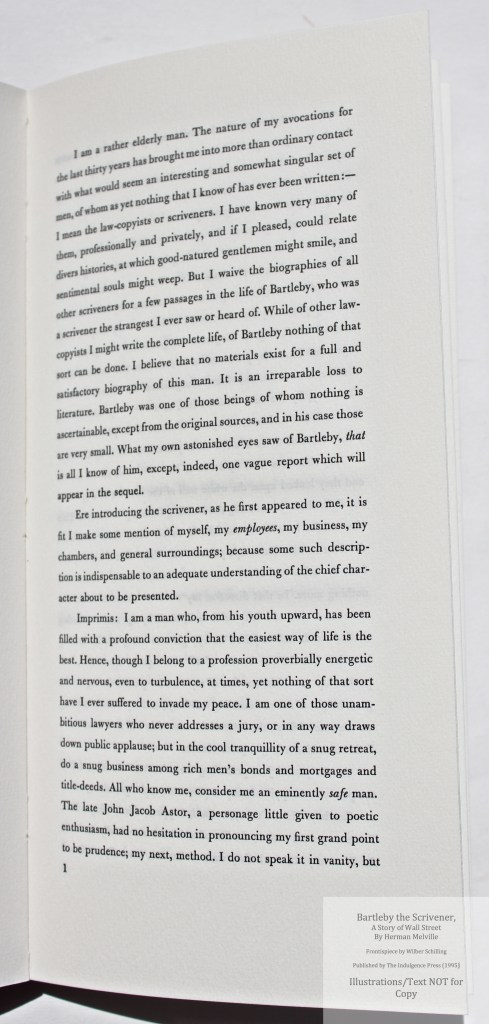 Bartleby, the Scrivener: A Story of Wall Street, Indulgence Press, Sample Text #1