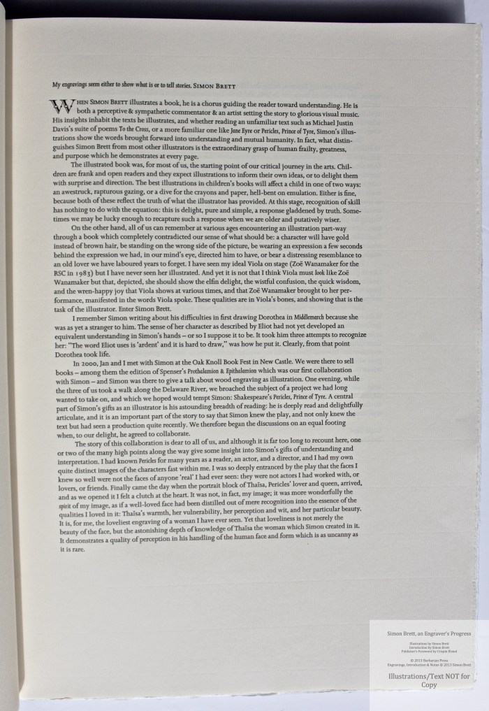 Simon Brett, an Engraver's Progress, Sample Text #1 (Foreword)