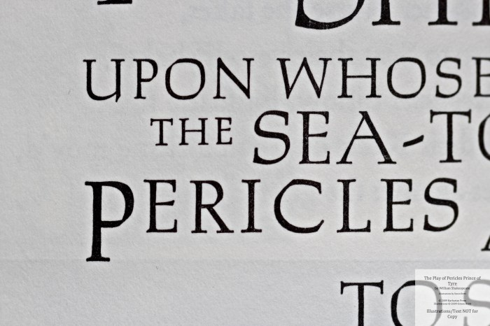 Pericles Prince of Tyre, Barbarian Press, Macro of Text