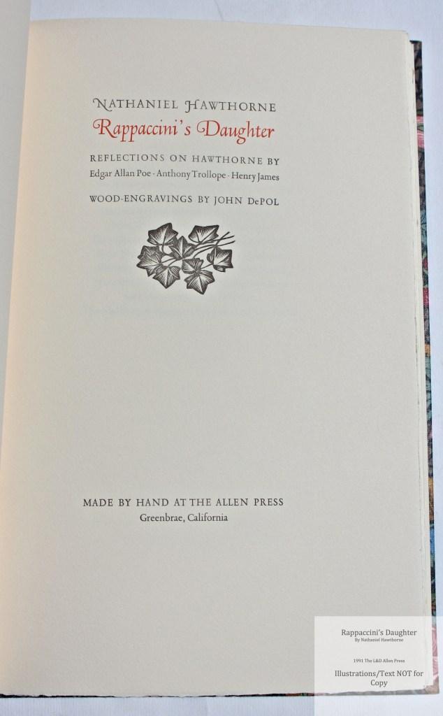 Rappaccini's Daughter, Allen Press, Title Page