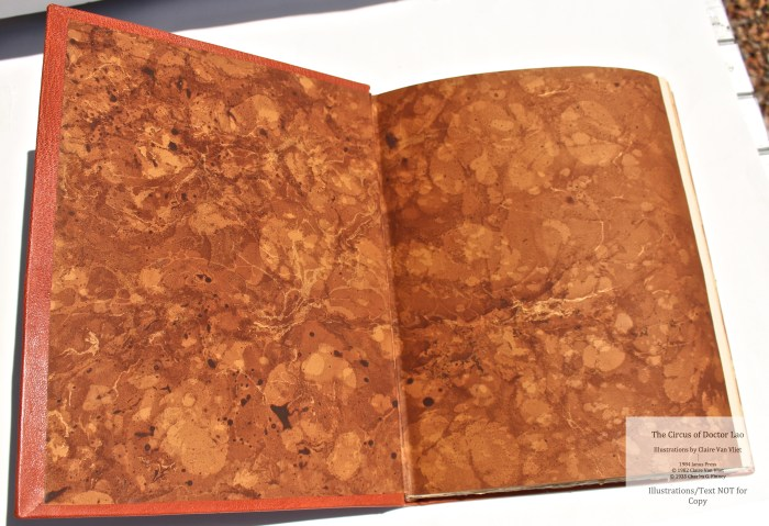 The Circus of Doctor Lao, Janus Press, Hand-marbled endpapers (custom)