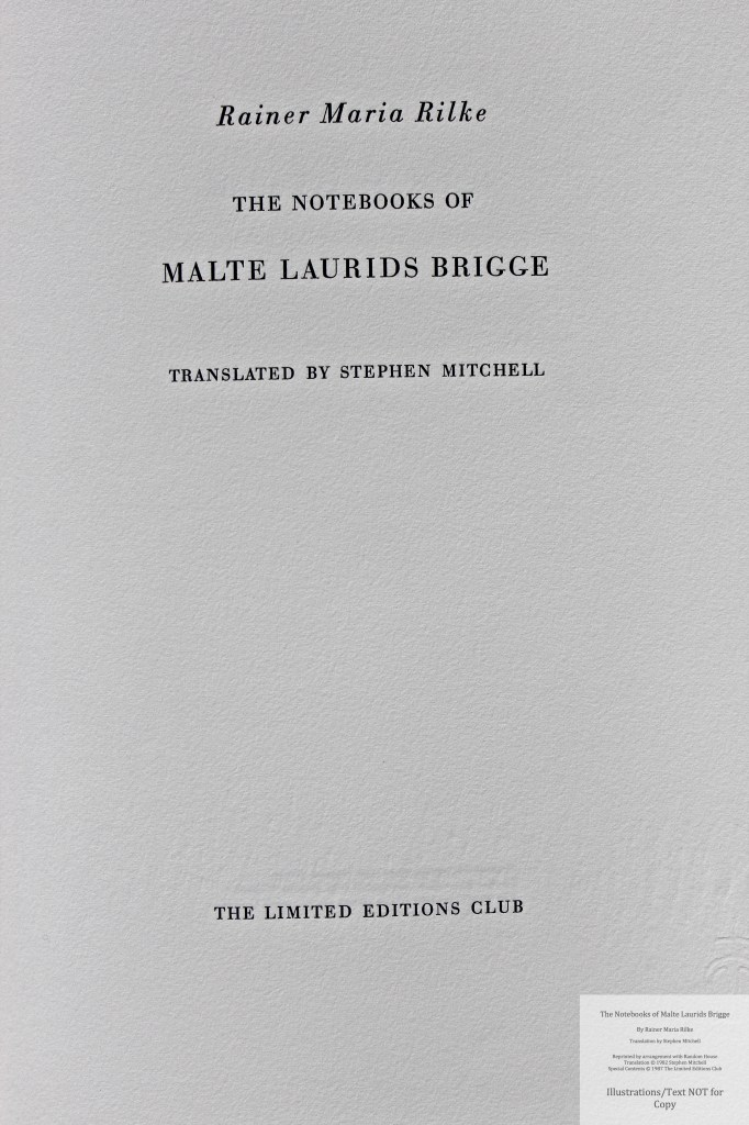The Notebooks of Malte Laurids Brigge, by Rainer Maria Rilke, Limited Editions Club, Title Page