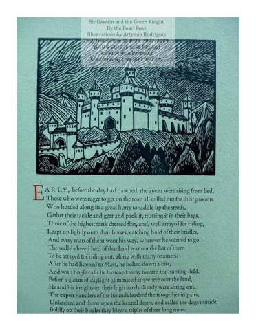 Sir Gawain and the Green Knight, Taller Martin Pescador, Sample Text with Illustration