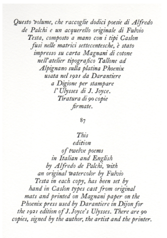 12 Poems, Colophon