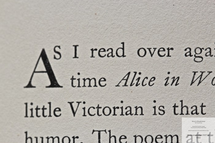 Alice in Wonderland and Through the Looking Glass, Limited Editions Club, Macro of Sample Text #1 (Introduction)