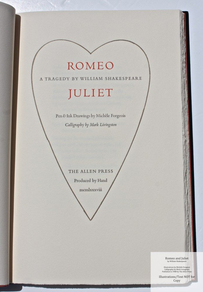 Romeo and Juliet, Allen Press, Title Page
