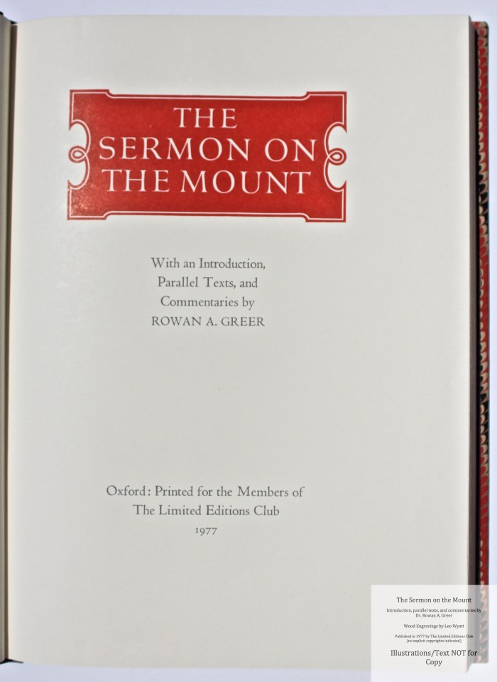 The Sermon on the Mount, Limited Editions Club, Title Page