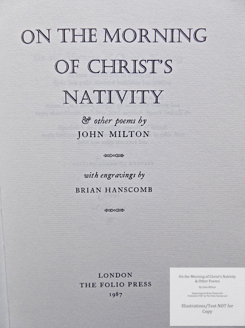 On the Morning of Christ's Nativity & other poems, The Folio Society, Title Page