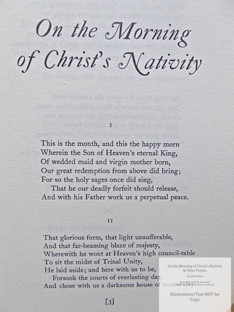 On the Morning of Christ's Nativity & other poems, The Folio Society, Sample Text #1