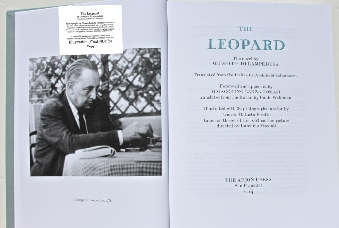The Leopard, Arion Press, Frontispiece (taken by Gioacchino Lanza Tomasi in 1955) and Title Page