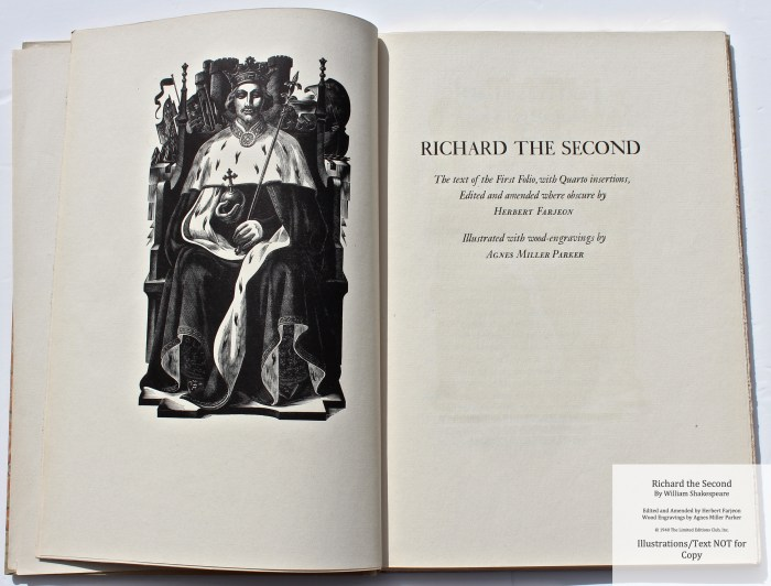 Richard the Second, Limited Editions Club, Title Page