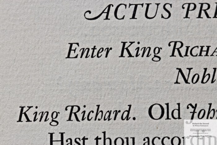 Richard the Second, Limited Editions Club, Macro of Sample Text #1