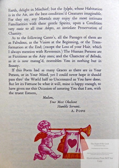 The Rape of the Lock, The Folio Society, Sample Text #2 with Decoration