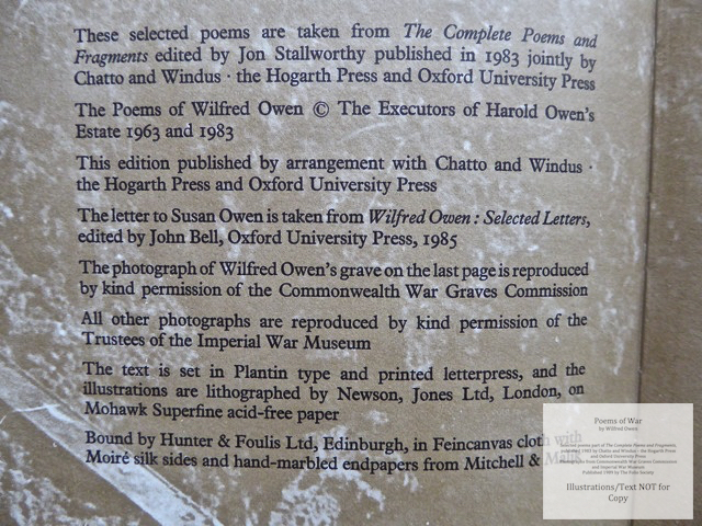 Poems of War, The Folio Society, Copyrights and Colophon Information