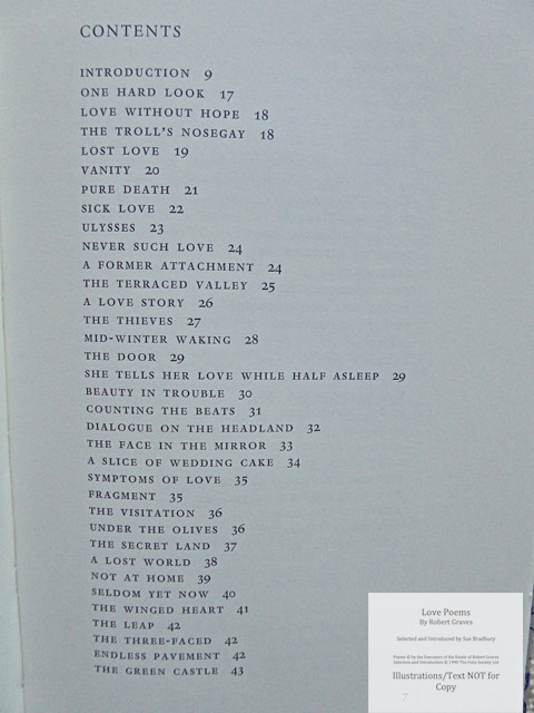 Love Poems by Robert Graves, The Folio Society, Contents