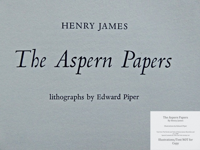 The Aspern Papers, The Folio Society, Title Page