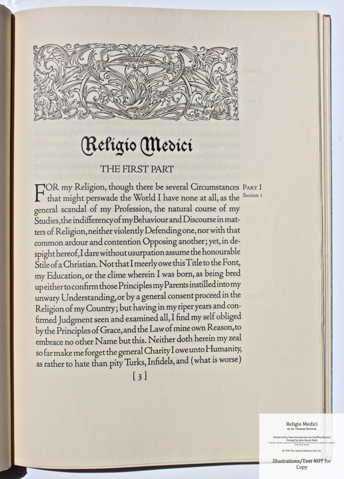 Religio Medici, Limited Editions Club, Sample Page #3 with Decoration