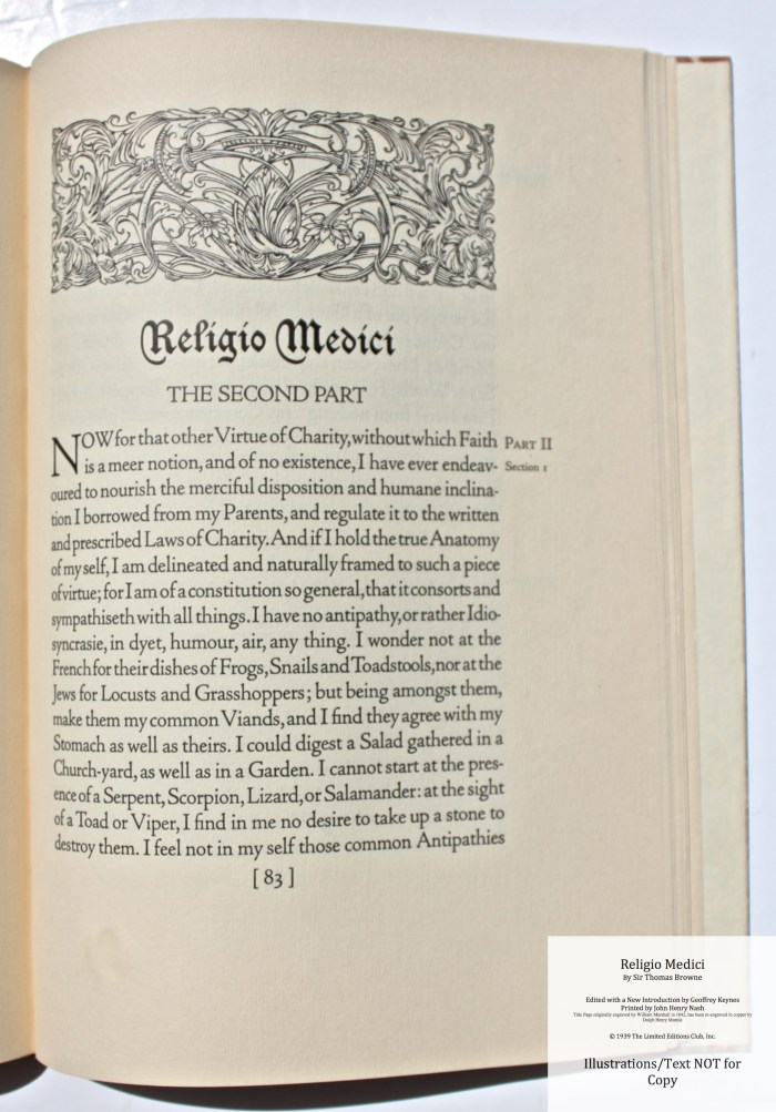 Religio Medici, Limited Editions Club, Sample Page #5 with Decoration