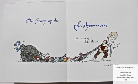The Story of the Fisherman, Foolscap Press, Title Page (with hand colored illustration)